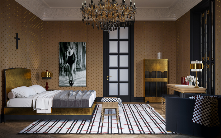 luxurious black and gold bedroom design