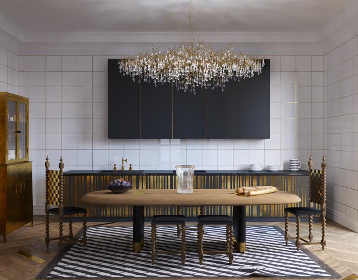 Veuve Clicquot Interior by Yuriy Zimenko - luxurious black white and gold bespoke kitchen design
