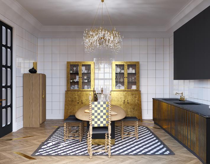 Veuve Clicquot Interior by Yuriy Zimenko - luxurious black white and gold kitchen design
