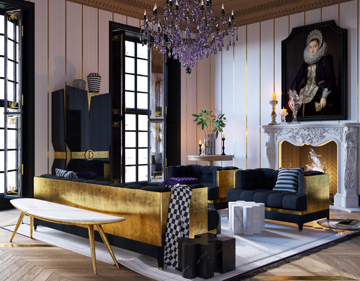 Veuve Clicquot Interior by Yuriy Zimenko - luxurious black and gold living room design with purple glass chandelier -