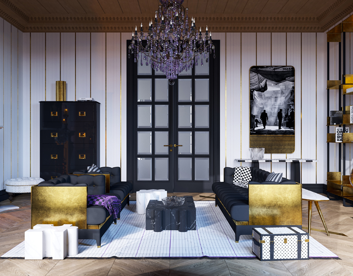 luxurious black and gold living room design with purple glass chandelier -