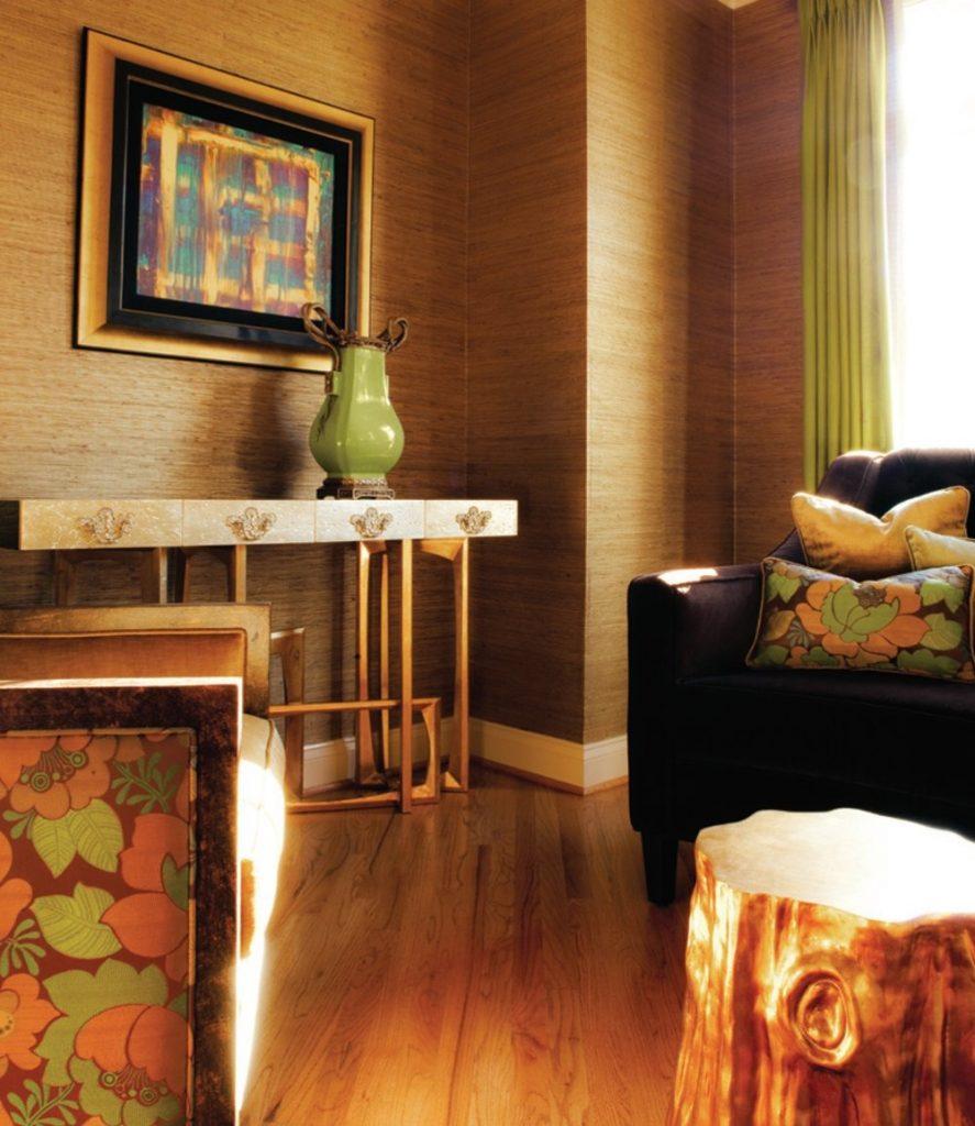 gold and green interior by janet morais founder of koket boca do lobo