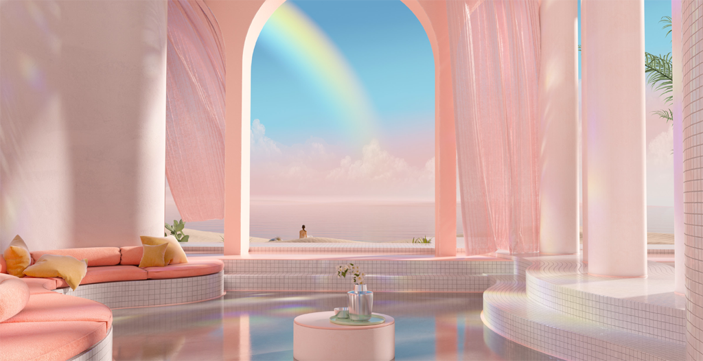digital art interior architecture pink and blue by yambo studio dreamscapes & artifical architecture