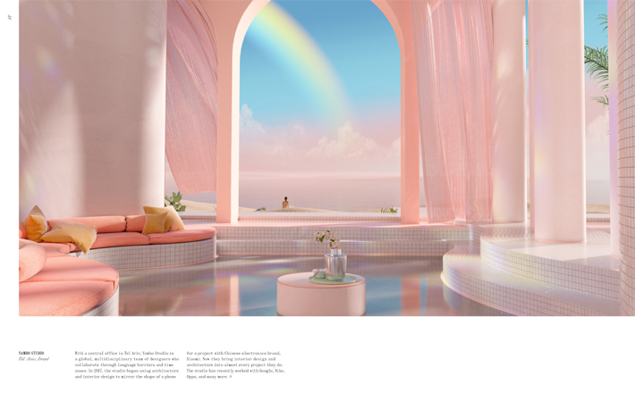 digital art architecture dreamscapes pink and blue cotton candy wonderland by yambo studio