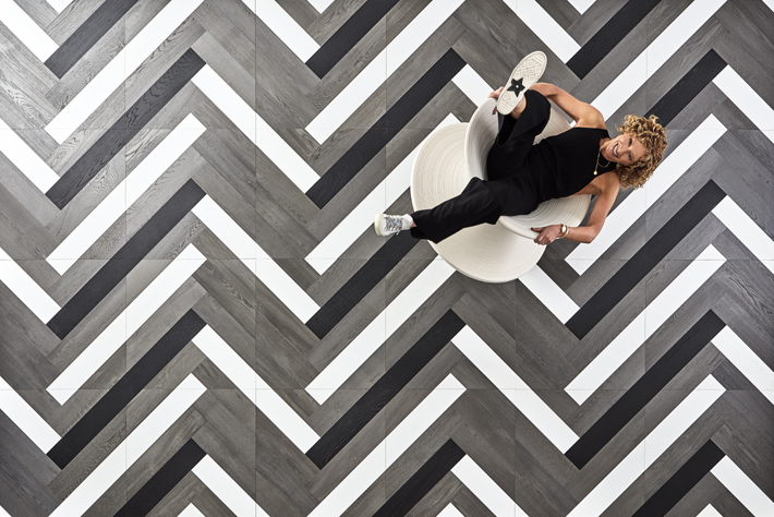 designer home decor Zig Zag tile design by Kelly Hoppen for The Hakwood Collection