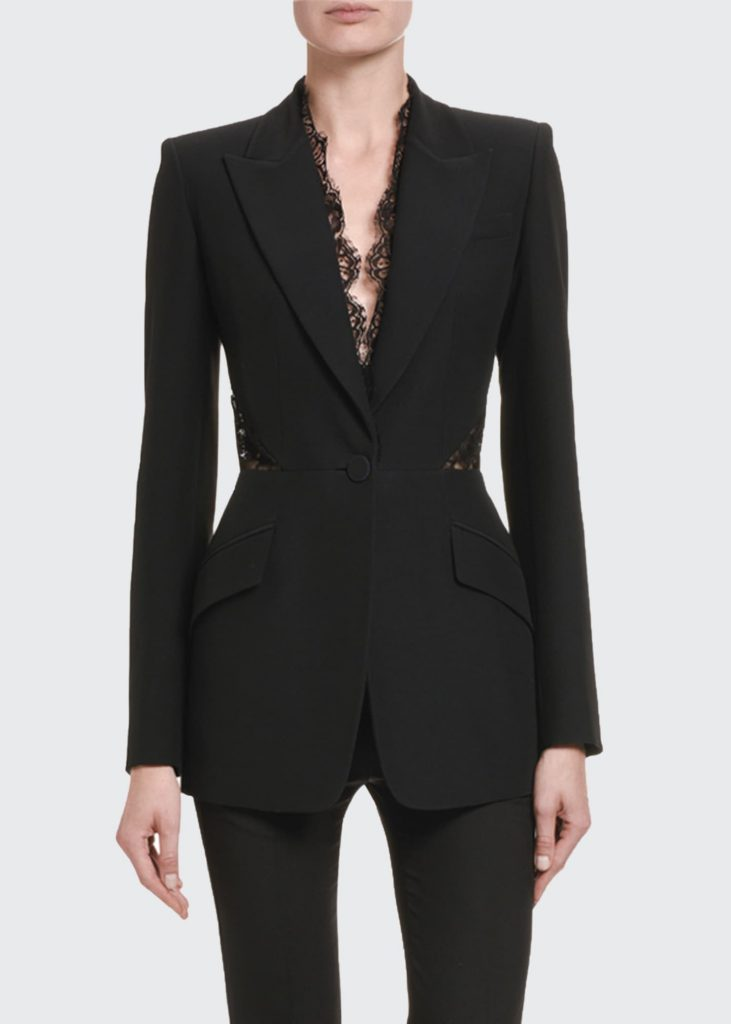 power suit alexander mcqueen leaf lace trimmed blazer