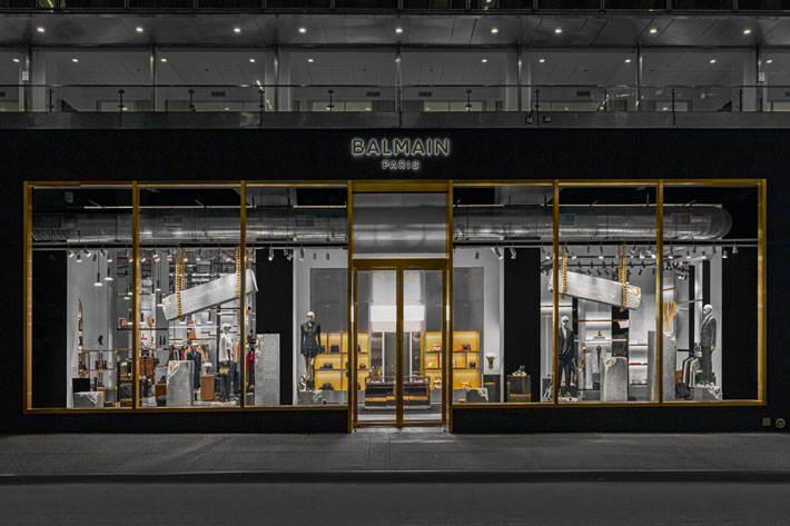 outside balmain new york boutique by olivier rousteing and studio amv