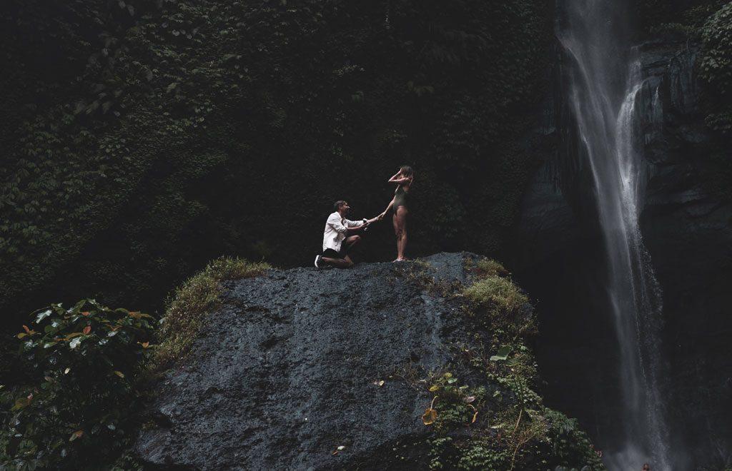 why won't my boyfriend propose - brett frigo unsplash marriage proposal by waterfall