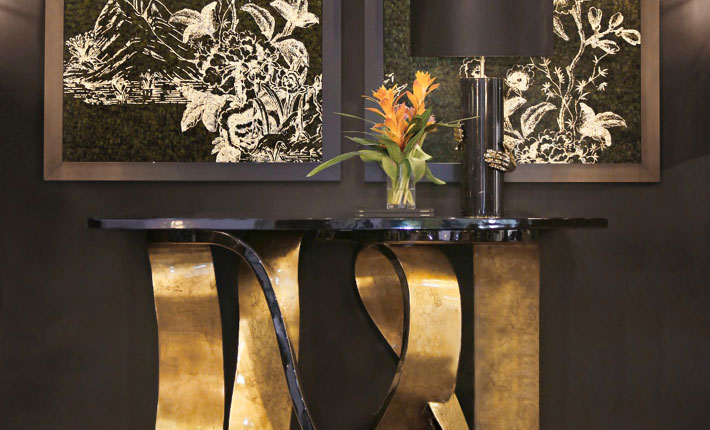 designer home decor - ribbon console, vengeance table lamp and feathered wall paper by koket janet morais