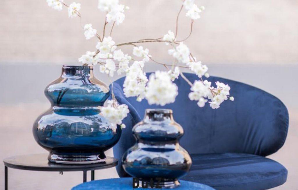 Steel Blue hand Blown Vase by Eurdecor