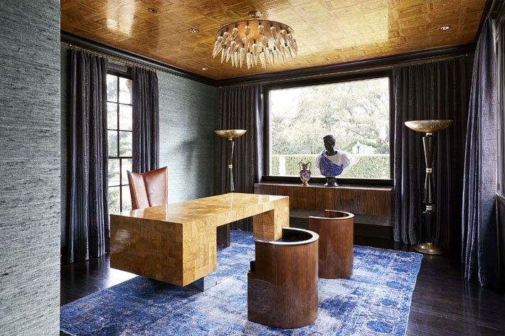 modern eclectic office design blue and gold and tan