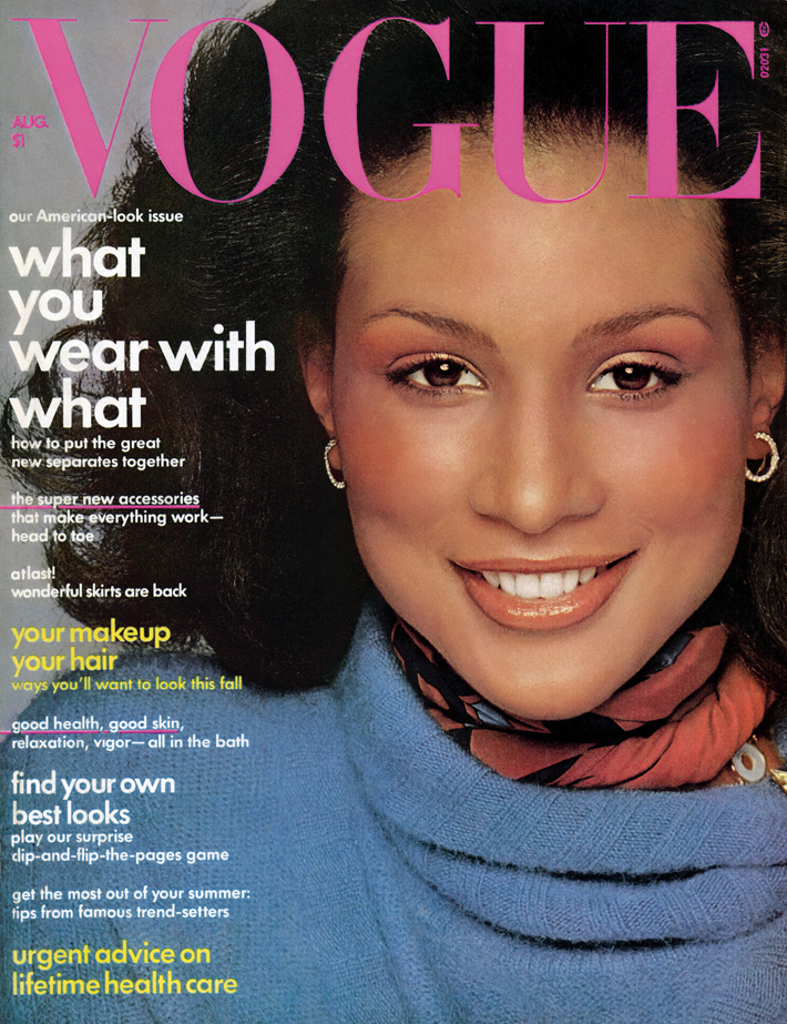Beverly Johnson, first black woman to be published in Vogue US, August 1974 (Photograph by Francesco Scavullo © The Francesco Scavullo Foundation and © The Francesco Scavullo Trust)