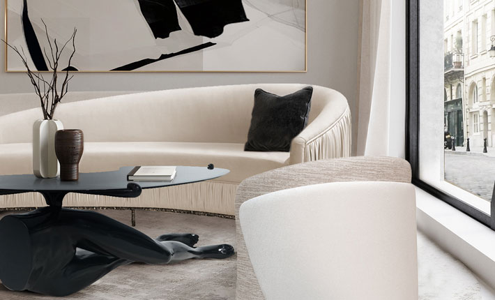 best of 2020 Interior decor by KOKET - black and white luxury living room - legs coffee table