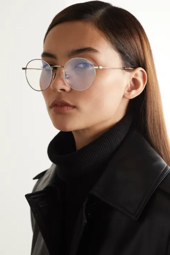 Saint Laurent Round-frame silver-tone optical glasses from Net-a-Porter