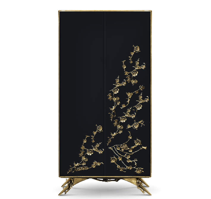 unique black and gold armoire with metal flowers spellbound cabinet by koket