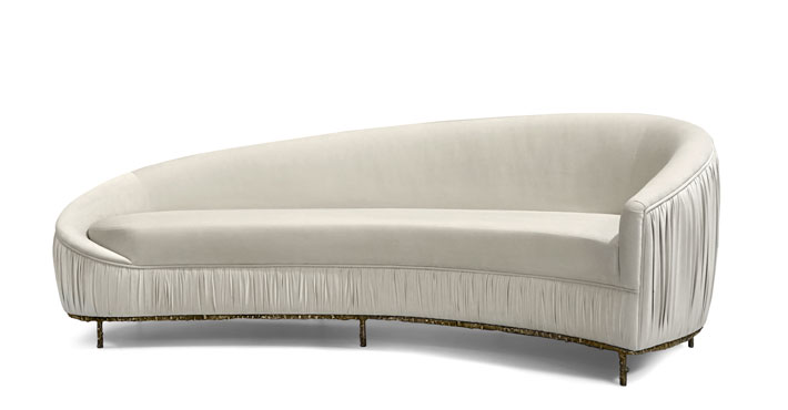 vamp by koket ruched back couch with cast metal base