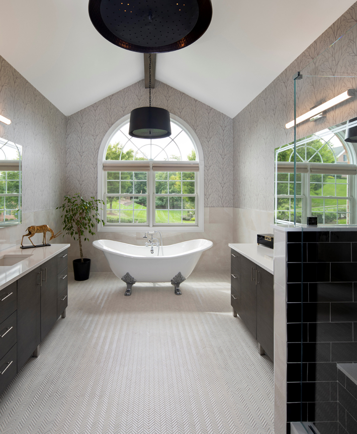 taupe and black timeless luxury bathroom design