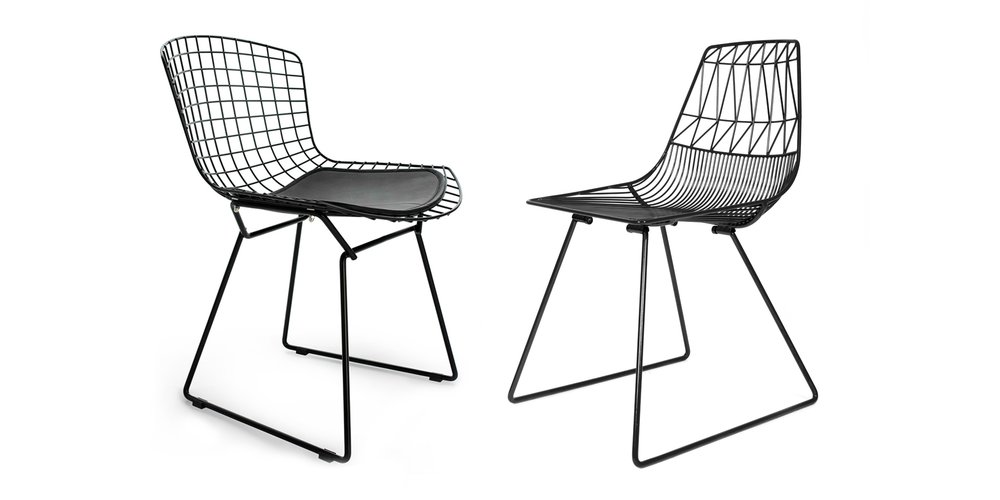 often imitated never duplicated - A perfect example of inspired design: Bend Goods Black Lucy Chair (R) embraces the iconic Bertoia Chair's (L) use of wire, but with a contemporary twist. (Image Via Be Original Americas)