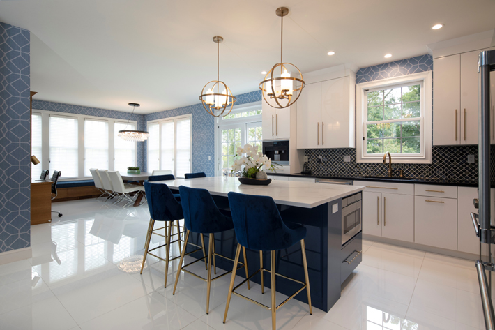charlie's designs blue and white luxury kitchen