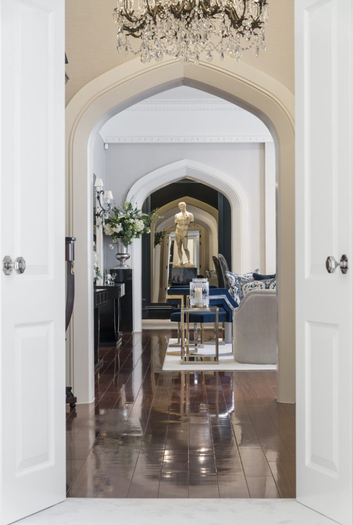 luxury hallway with arched doorway