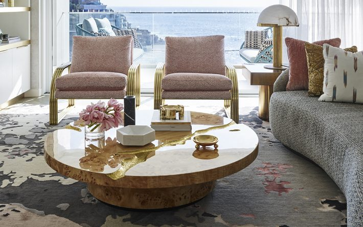 tips for styling coffee table Interior design by Greg Natale, Golden bowl on the cocktail table, Deep Etched Boule Bowl by Greg Natale Accessories.