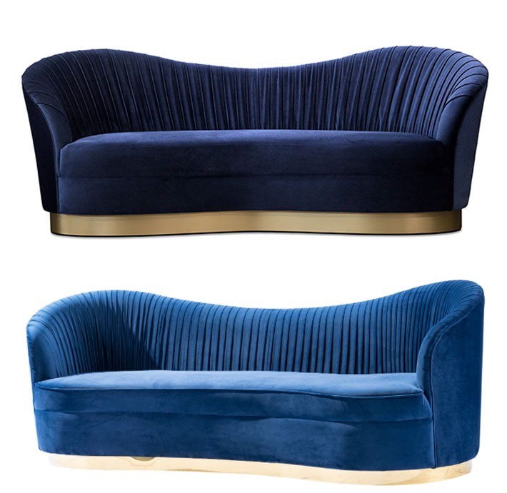 Original KOKET Kelly Sofa (Top), Knockoffed and shown in the exact same finishes by a company from China (Bottom)