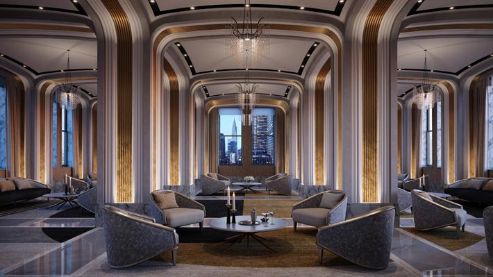 Grand Salon featuring Jean-Louis' furniture designs for Marc de Berny