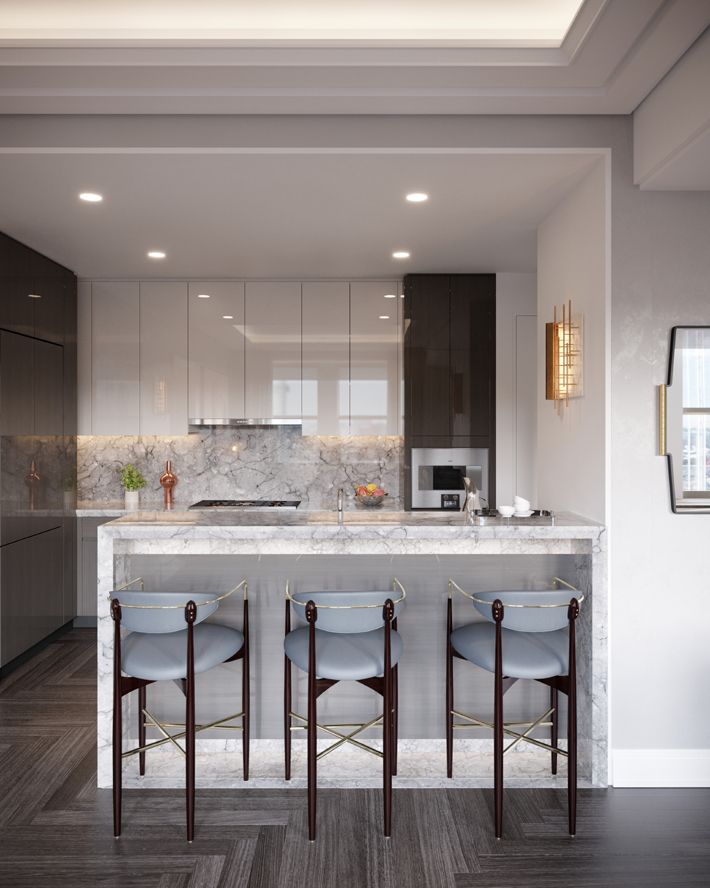 the towers at waldorf astoria new york Model unit kitchen design by Jean-Louis Deniot
