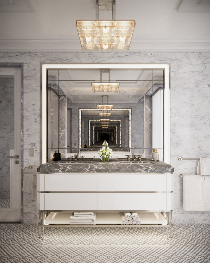 the towers of the waldorf astoria Model unit master bathroom design by Jean-Louis Deniot