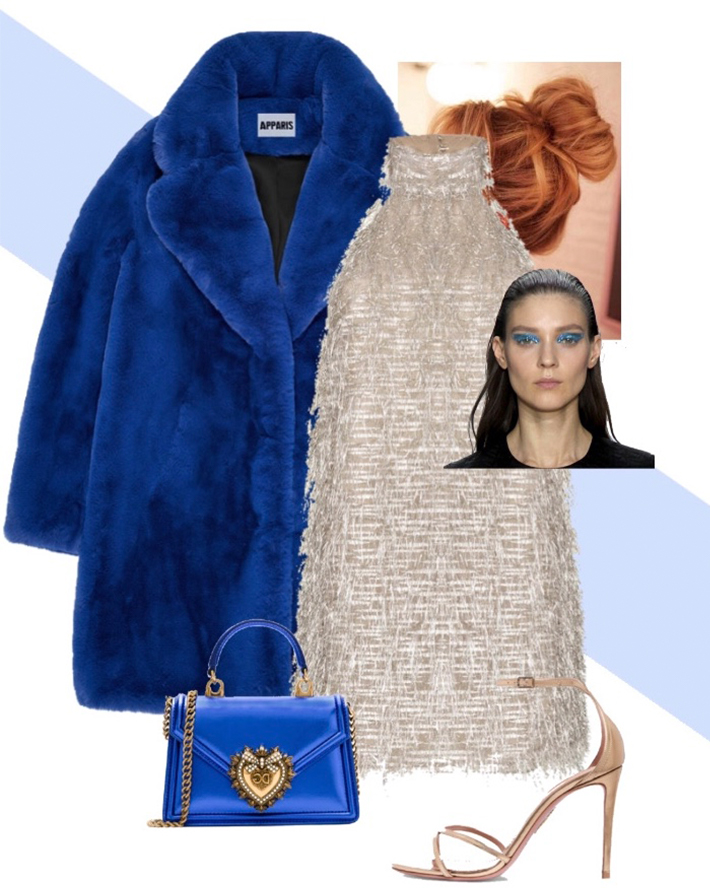new year's eve looks outfits ideas - bling bling - Jacket by Apparis, Handbag by Dolce & Gabbana, Shoes by Aquazzura, Dress by Taller Marmo
