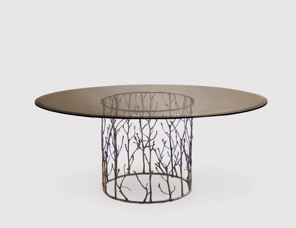 enchanted dining table by koket - brass branch table