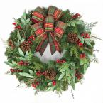 Pre-lit Artificial Christmas Wreath With Plaid Ribbon