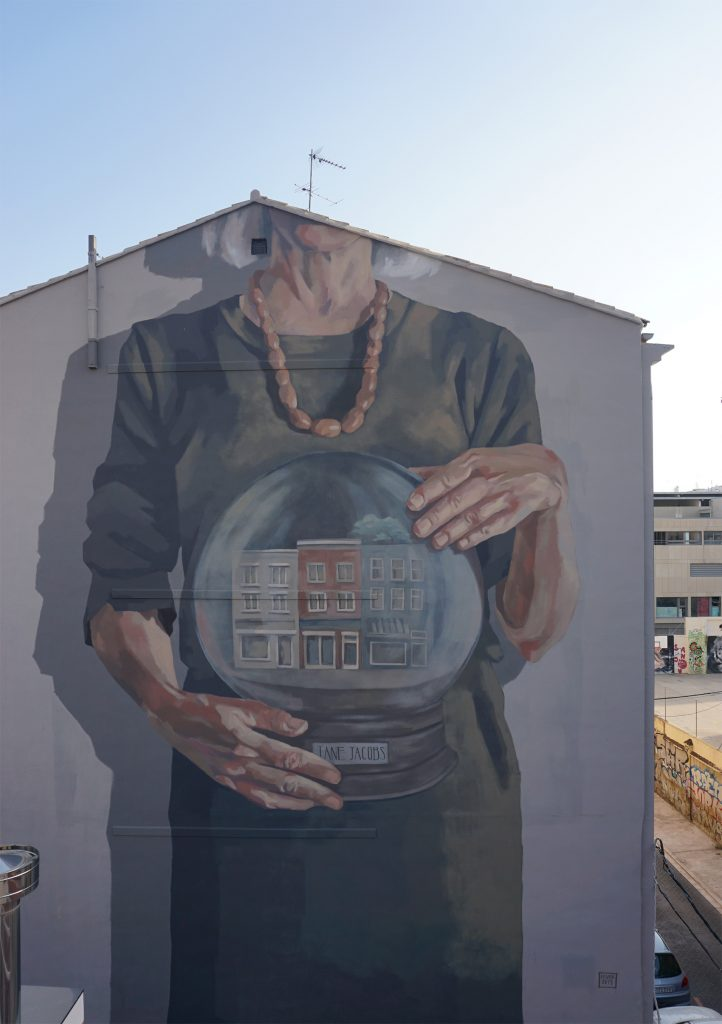 "Jane Jacobs by Hyuro Tamara Djurovic art murals mural artist - Valencia Spain 2019; Part of ""Mujeres de Ciencia""; Project curated by @jbpeiro together with the Poliétcnic"