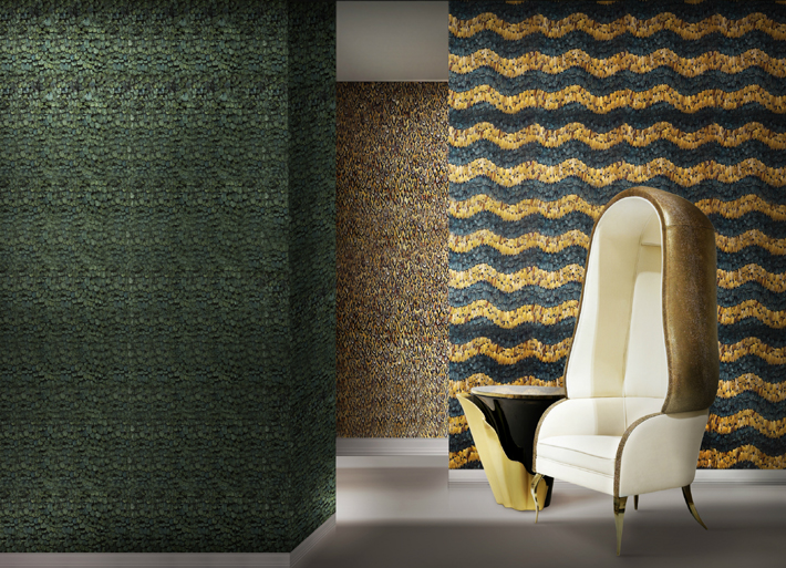interior design trends 2021 Feather wallcoverings by KOKET