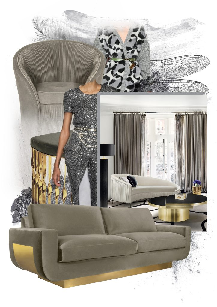 2021 Color of the Year PANTONE 17-5104 Ultimate Gray by KOKET, gray luxury furniture sofas chairs