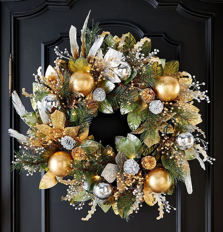 Prelit Silver And Gold Christmas Wreath neiman marcus beautiful Christmas wreaths