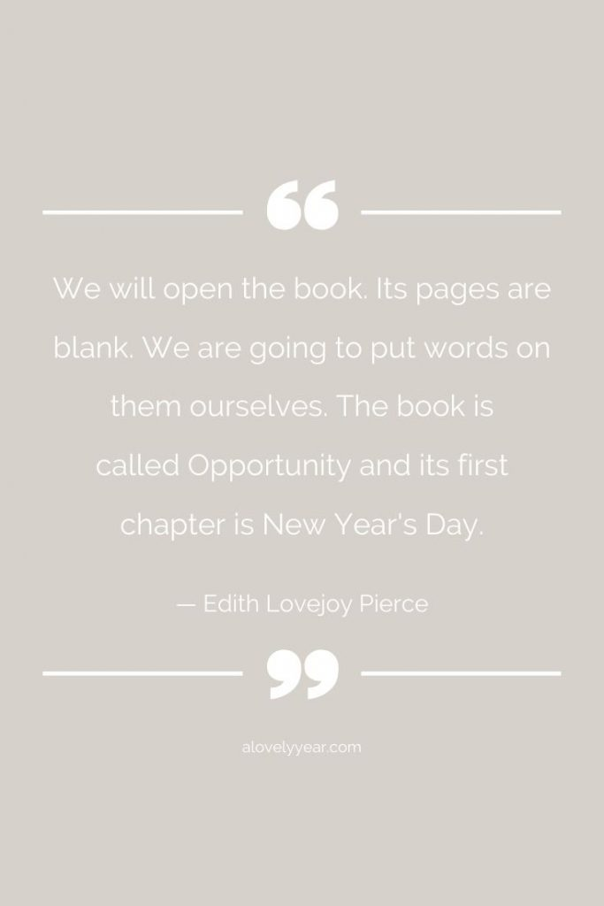 we will open the book. its pages are blank. we are going to put words on them ourselves. the book is called opportunity and its first chapter is new year's day - edith lovejoy pierce
