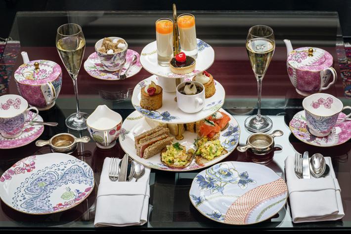 champagne breakfast spread