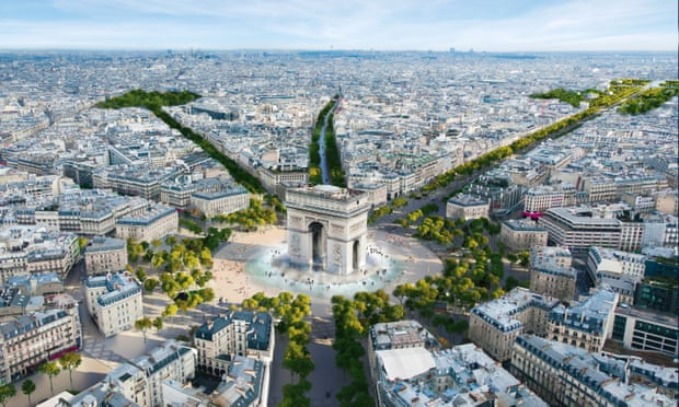 An image from the architectural firm PCA-Stream showing the planned changes to the Champs-Élysées area by PCA-Stream