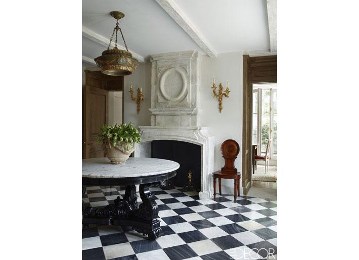 emma jane pilkington foyer with black and white tile floors