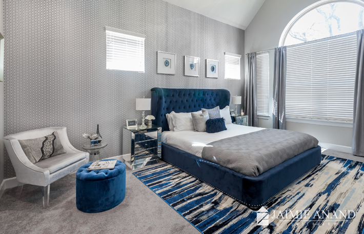 blue and grey bedroom jaimie anand interiors