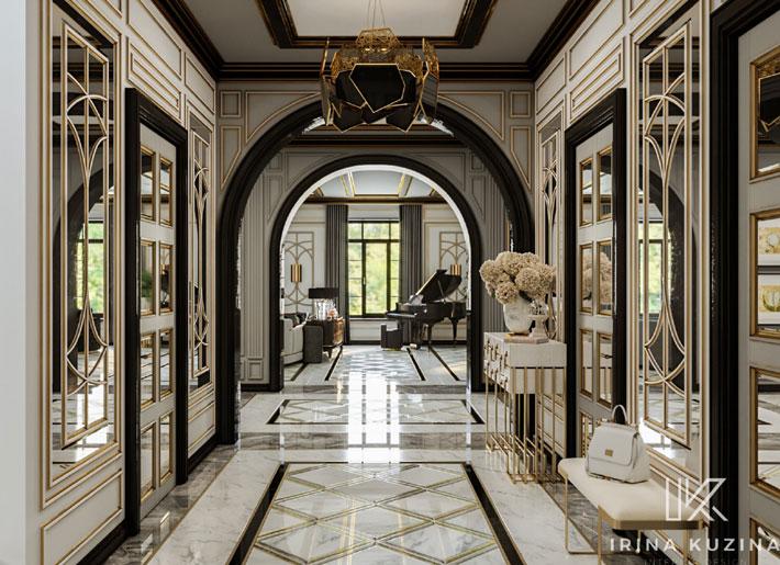 Irina Kuzina Hallway with black lighting hypnotic chandelier by koket