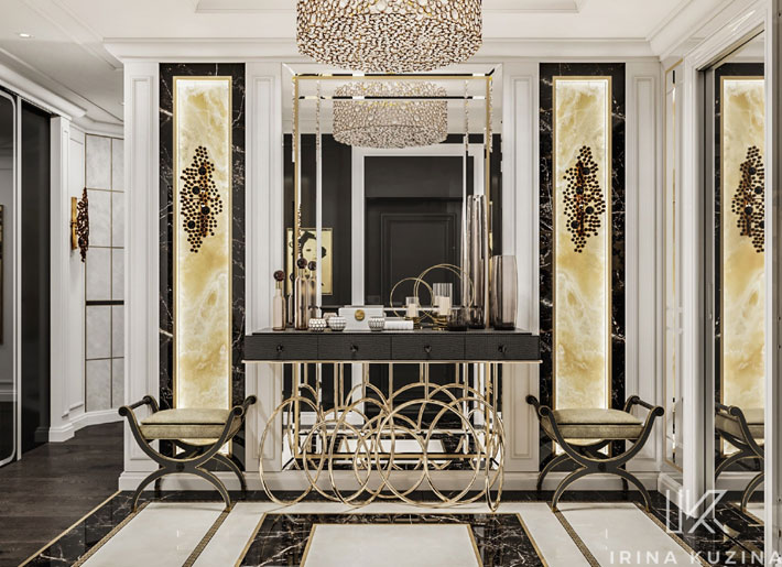 black furniture - burlesque console table, eternity chandelier and sconces by koket in hall by irina kuzina