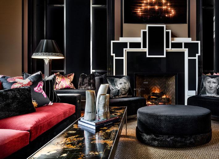 black living room interiors with pink accents lori morris design