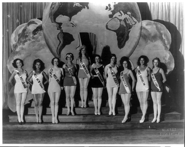 Miss Universe winner, center wearing the crown, standing on steps with nine other beauty contestants. Photo was taken at the 1930 International Pageant of Pulchritude in Galveston. (Photo by Joseph M. Maurer, via Library of Congress Prints & Photographs Online Catalog)