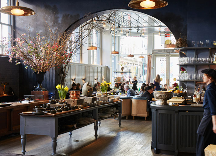 matte black interiors cafe roman williams design