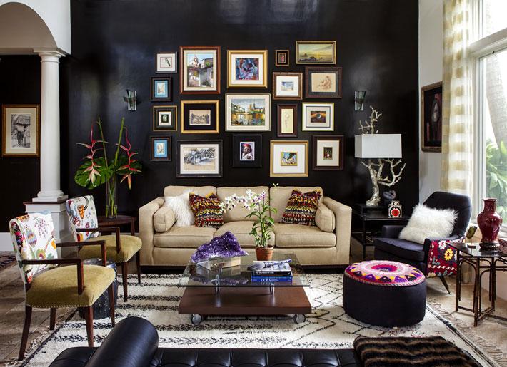 b pila electic living room with black walls alluring interiors