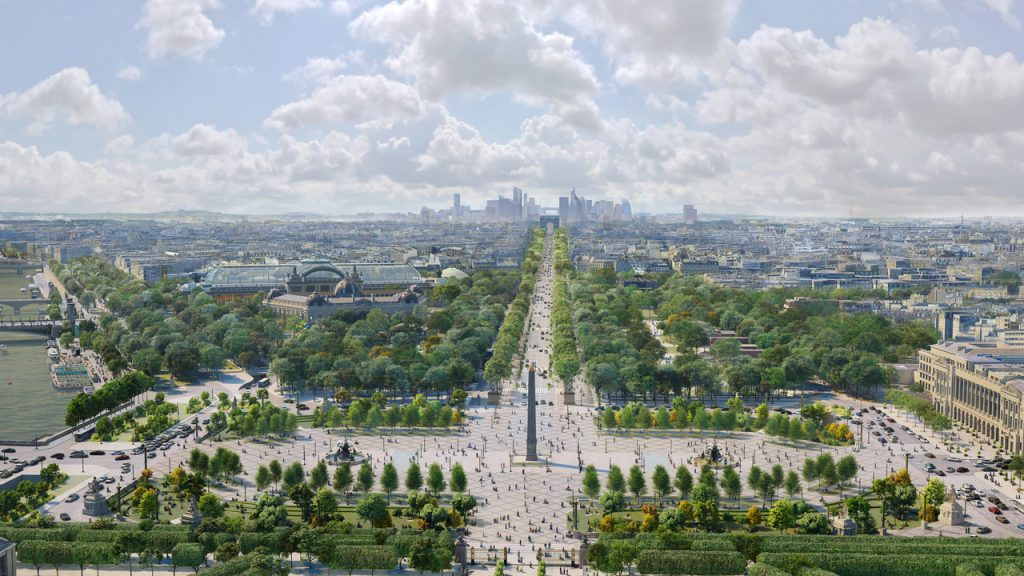 Place de la Concorde in the east with the Obelisk of Luxor redesign concept by PCA-Stream