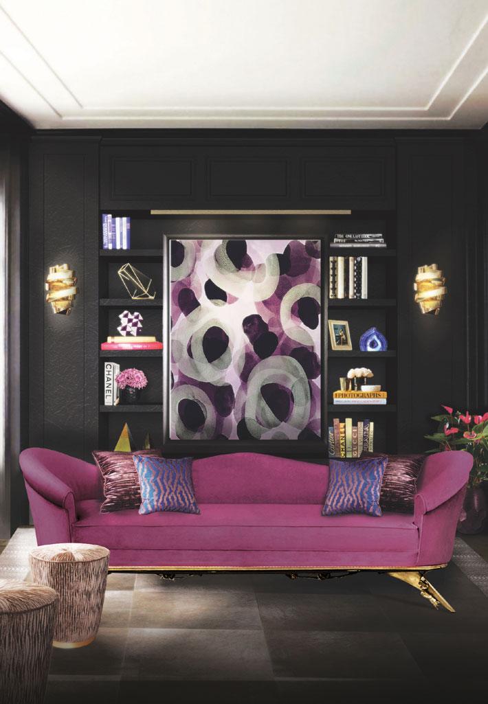 home library designs with bookshelves koket colette sofa tresor stool ribbon sconce black cobra rug
