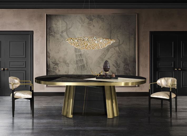 black and gold dining room interiors koket decodiva marble dining table and nahema chairs